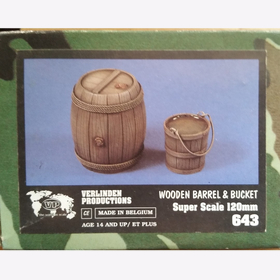 Wooden Barrel & Bucket Verlinden 643 Super Scale 120mm 1:16 Eimer Fass